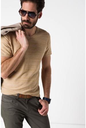 DeFacto Çizgili V Yaka T-Shirt