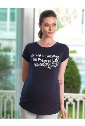 Mel Bee Kelebek Baskılı Lohusa T-Shirt Lacivert Mb4504