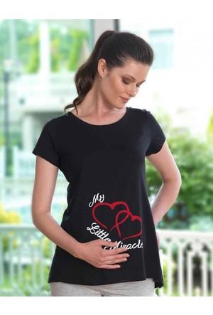 Mel Bee Kalp Baskılı Lohusa T-Shirt Siyah Mb4508