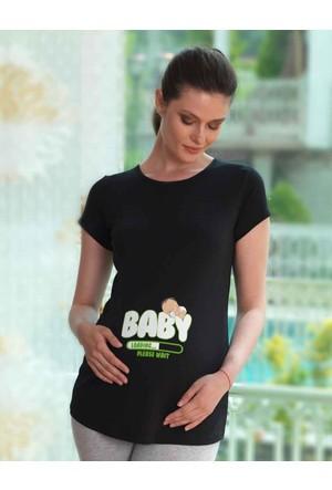 Mel Bee Baby Baskılı Lohusa T-Shirt Siyah Mb4514
