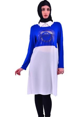 Modamla Gömlek Yaka Varak Baskılı Krep Tunik