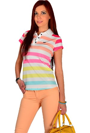Modamla Gömlek Yaka Çizgili T-Shırt