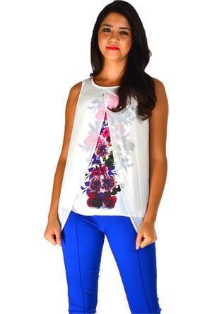 Modamla Kolsuz Çiçek Baskılı Bluz