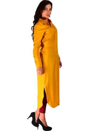 Modamla Bel Bağcıklı Düğmeli Elbise