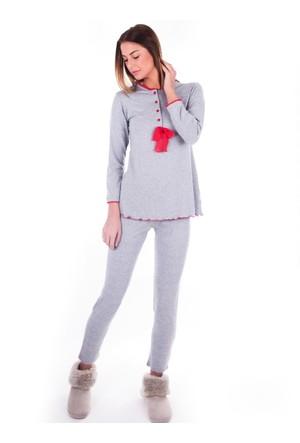 Ayyıldız 59488 Gri Uzun Kollu Pijama Takımı