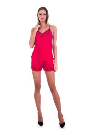 Ayyıldız 3909 Kırmızı Renk Dantelli Şortlu Saten Takım