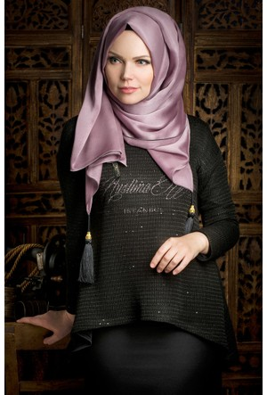 Muslima Wear Triko Nakışlı Bluz 1100 Siyah