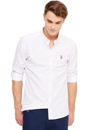 U.S. Polo Assn. Erkek Beyaz Gömlek Flora