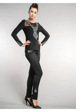Dodona Özel Tasarım Payetli Siyah Pantolon