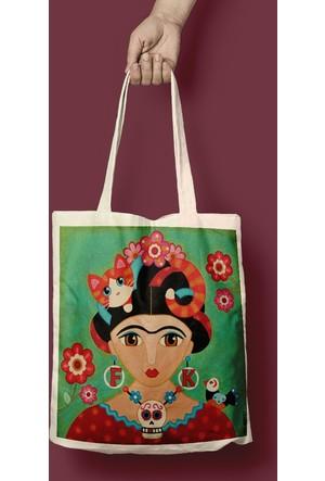 iF Dizayn Frida Kahlo Tasarım Bez Çanta