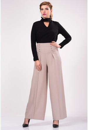 İroni Ön Düğmeli Pileli Bol Taş Kumaş Pantolon