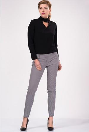 İroni Kazayağı Desenli Siyah Pantolon