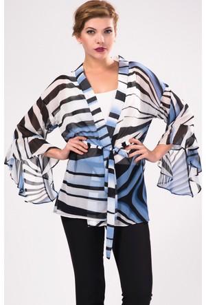 İroni Renkli Desen İspanyol Kol Mavi Kimono Ceket