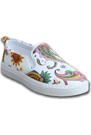 Markazen Resimli Babet Ayakkabı - Beyaz