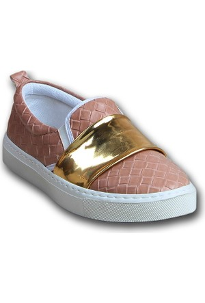 Markazen Desenli Bantlı Babet Ayakkabı - Pudra