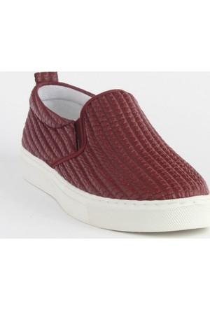 Markazen Desenli Babet Ayakkabı - Bordo 01