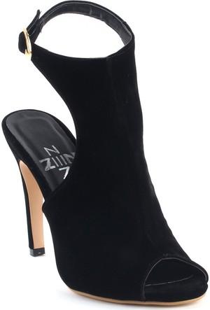 Markazen Tamara Süet Burnu Açık Topuklu Ayakkabı - Siyah