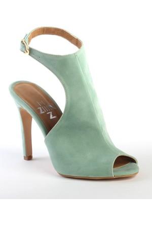 Markazen Tamara Süet Burnu Açık Topuklu Ayakkabı - Su Yeşil
