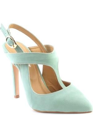 Markazen Clodia Süet Topuklu Ayakkabı - Su Yeşili