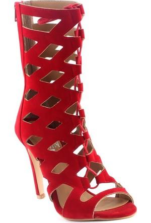 Markazen Jana Süet Baklava Desenli Ayakkabı - Kırmızı