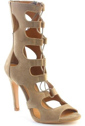 Markazen Crystal Süet Topuklu Ayakkabı - Bej