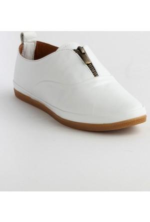 Markazen Fermuarlı Bayan Spor Ayakkabı - Beyaz