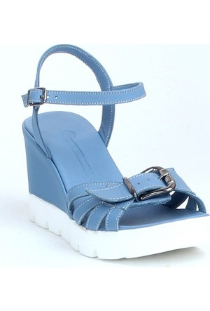 Markazen Tokalı Deri Dolgu Topuklu Ayakkabı - Mavi