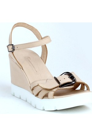Markazen Tokalı Deri Dolgu Topuklu Ayakkabı - Bej