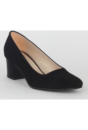 Markazen Süet Kalın Topuklu Ayakkabı - Siyah