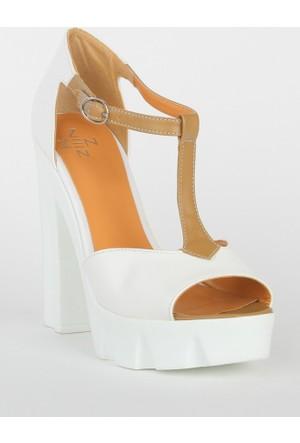 Markazen Bilekten Tokalı Kalın Topuklu Ayakkabı - Beyaz