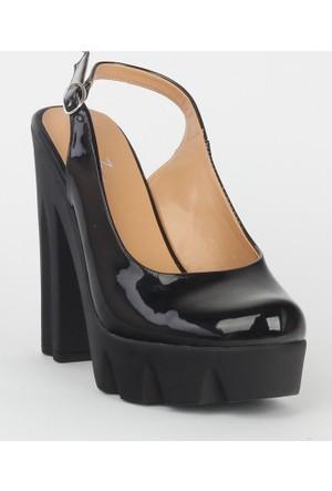 Markazen Kalın Topuklu Ayakkabı Rugan - Siyah