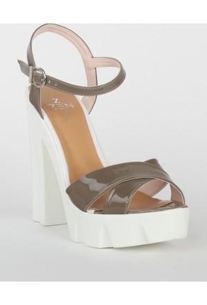 Markazen Bantlı Topuklu Rugan Ayakkabı - Vizon