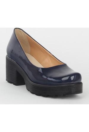 Markazen Bayan Rugan Topuklu Ayakkabı - Lacivert