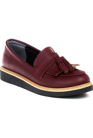 Markazen Püsküllü Babet Ayakkabı - Bordo 01