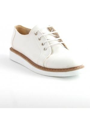 Markazen Beyaz Taban Oxford Ayakkabı - Beyaz