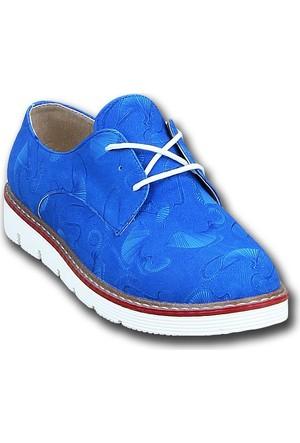 Markazen Desenli Oxford Ayakkabı - Mavi