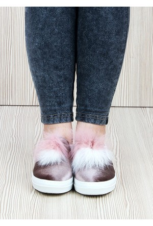 Markazen Tüylü Babet Ayakkabı - Kahverengi