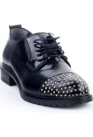 Markazen Burnu Trop Desenli Oxford Ayakkabı - Siyah