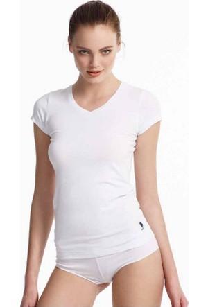 U.S. Polo 66004 Bayan V Yaka Streç T-Shirt