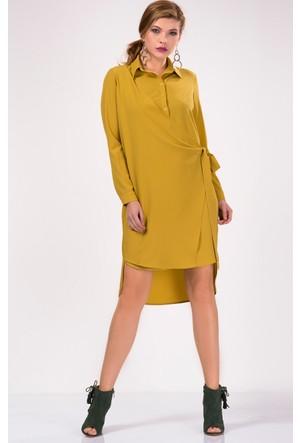 İroni Ön Patlı Safran Gömlek Elbise