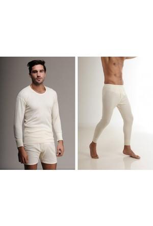 Elif Çamaşır Hasyün Erkek Yün Uzun Kol İçlik Takım Krem