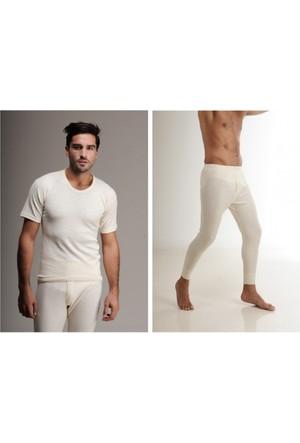 Elif Çamaşır Hasyün Erkek Yün Kısa Kol İçlik Takım Krem