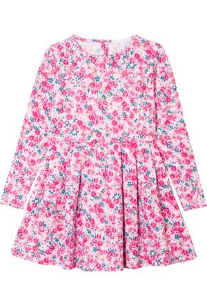 İkizim ve Ben Uzun Kollu Pembe Çiçekli Elbise