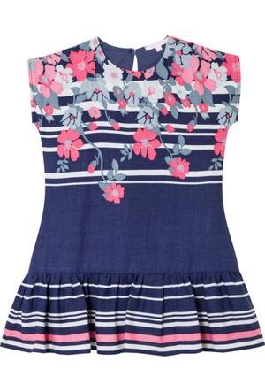 İkizim ve Ben Kısa Kollu Lacivert Çiçekli Elbise