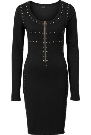 Bodyflirt Siyah Zımba Detaylı Ve Fermuarlı Örgü Elbise