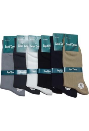 Elif Çamaşır 6'Lı Paket Sayıl Premium Düz Dikişsiz Takviyeli Erkek Çorabı Asorti