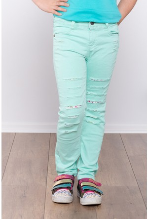 Ottomama Kız Çocuk Lazer Kesikli Pantolon Mint Renk