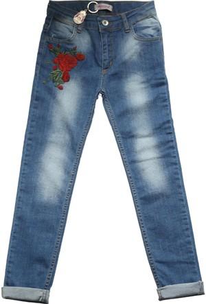 Ottomama Ön Ve Arka Cebi Gül Nakış Kız Çocuk Pantolonu