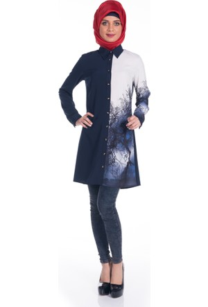 Modaverda Bayan Dijital Baskılı Tunik Lacivert Renk