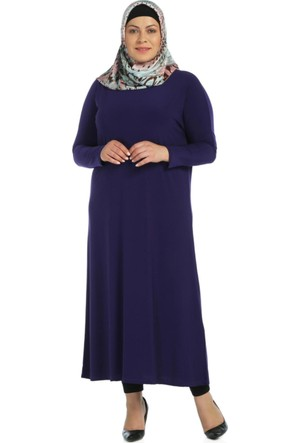Modaverda Sandy Kumaş Elbise Mor Renk